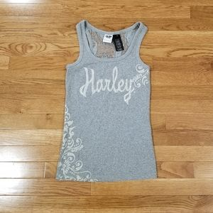 HD gray bling lace back ribbed tank top M